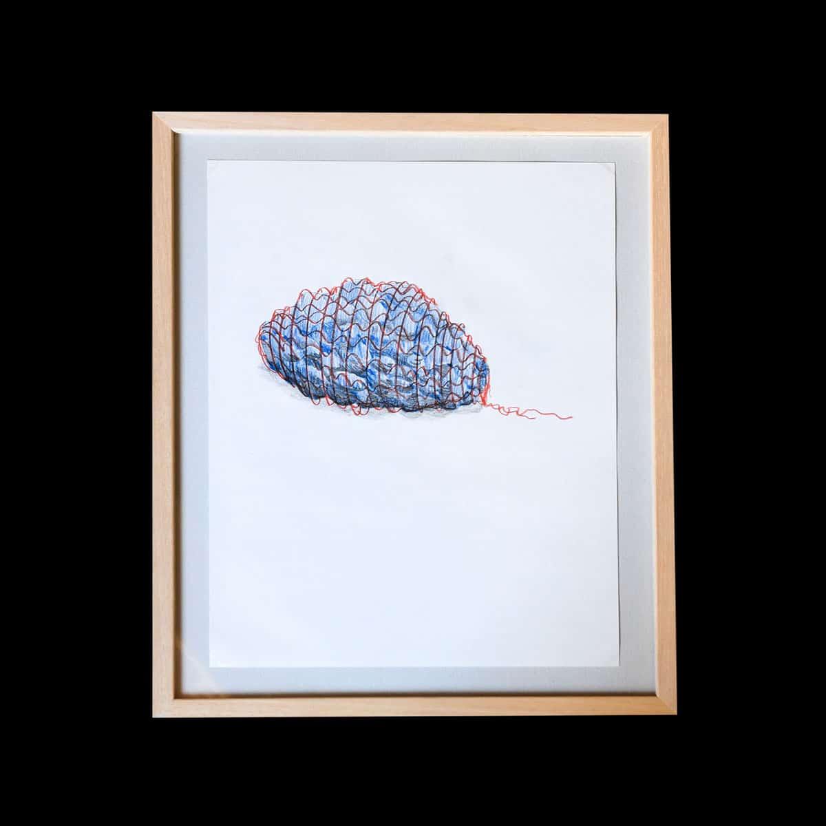 Simon Jacquard, Sans titre (filet) 2015. Dessin sur papier 36 x 27 cm