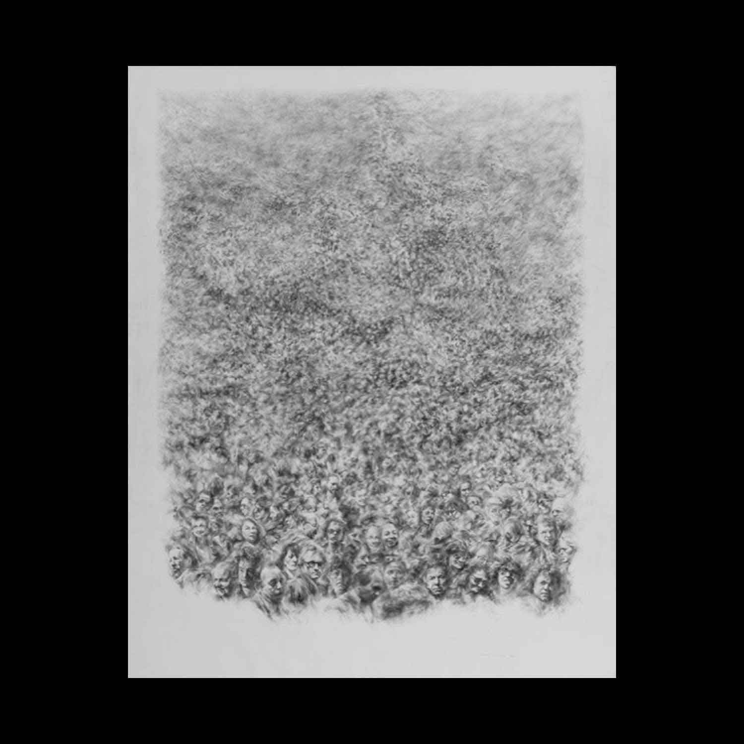 Michel Houssin, Foule, 1991. Lead pencil drawing, 150 x 120 cm. Framed, UV protection museum quality glass