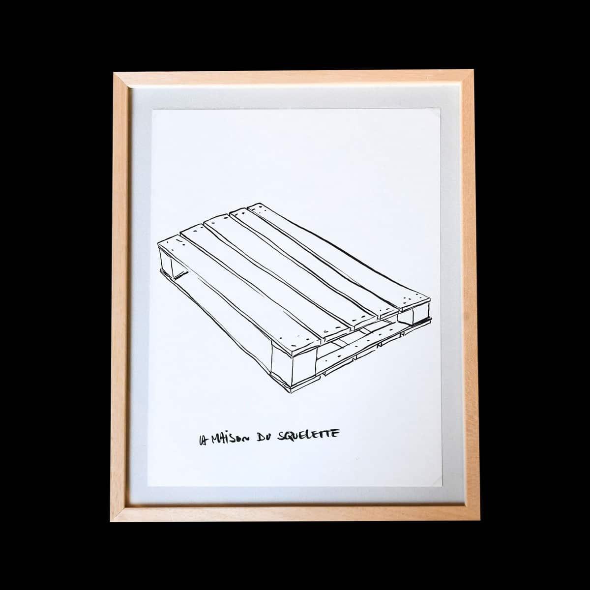 Simon Jacquard, Untitled (pallet), 2015. Drawing on paper 36 x 27 cm