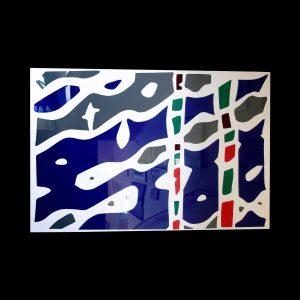 Raymond Hains « Pénélope multicolore » 2004 Pièce unique plexiglas découpé collé sur plaque de plexiglas 143 x 101 cm
